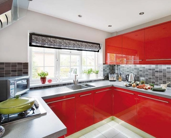 سيراميك لمطبخ أحمر